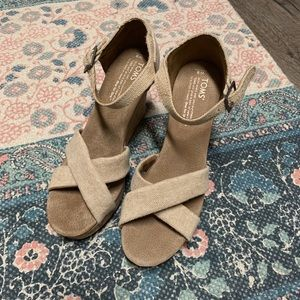 TOMS cork wedge sandal